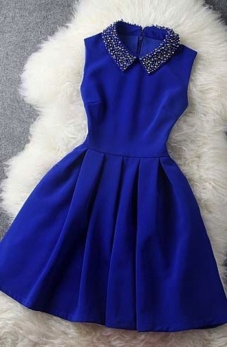 holiday dress blue dress blue dress casual cute dark blue dress ocean blue a line dress little dress cute dress pretty collar collared dress collar style skater dress