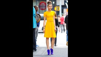 dress yellow blue bun