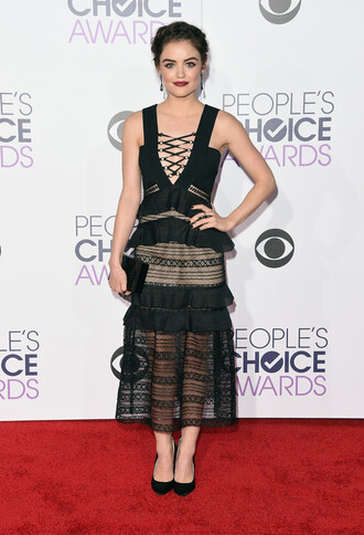 dress lace dress midi dress lucy hale red carpet mesh see through plunge dress pumps clutch people's choice awards shoes bag