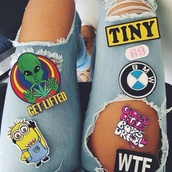 jeans,blue jeans,badge,patch,number,logo,alien,weed,minions,ripped jeans,hipster,style