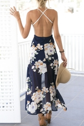 dress,summer,floral,open back,navy,maxi dress,spring,beach,flowy,feminine,girly,beautifulhalo,maxi,floral dress