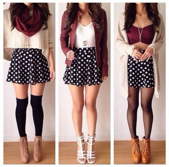polka dots skirt polka dot skirt skater skirt burgundy cardigan sweater fall outfits jacket necklace scarf