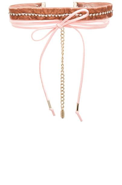 Ettika leather velvet pink jewels