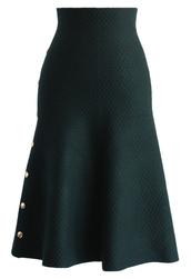 skirt,studs waffle knit midi skirt in dark green,dark green,midi skirt,green skirt