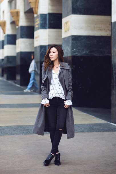 tsangtastic blogger shirt ankle boots checkered white shirt grey coat grey trench coat