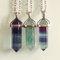 Fluorite gemstone wands / points necklaces
