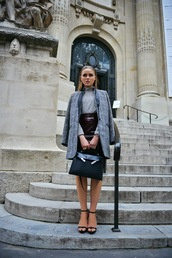 kayture,coat,shirt,bag,jewels,skirt,vinyl skirt,midi skirt,burgundy skirt,burgundy,grey coat,kristina bazan,black bag,turtleneck,grey top,sandals,sandal heels,high heel sandals,black sandals