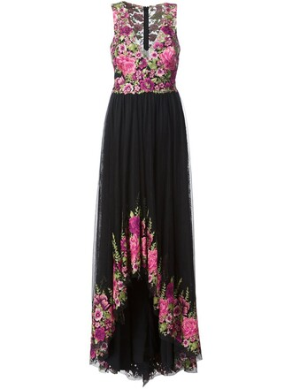 gown women floral print black dress