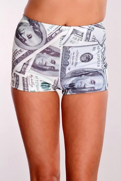 Green multi money print shorts / sexy clubwear