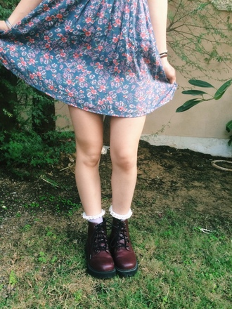 skirt blue pink purple violet flowers pretty cute adorable grunge hipster hippie bohemian shoes socks