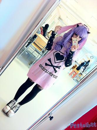 romper clothes pastel goth pink hoodie violet hair wig pastel pastel pink cute creepers