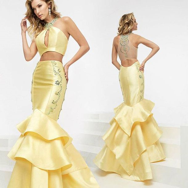 dress, jasz couture, fit and flare dress, yellow dress, halter dress ...