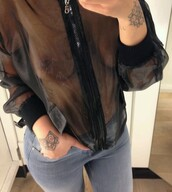 top,jacket,sheer,see through,black,pretty,coat,windbreaker,mesh,mesh jacket,see through jacket,zip up,zip,zip up jacket,jacket zip up,jeans,light blue jeans,tight jeans,trendy,bomber jacket