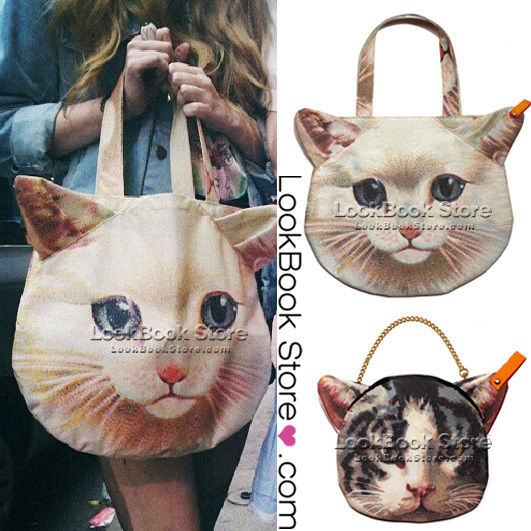 Women Cute 3D Kitty Pussy Cat Head Printedbag Purse Shoulder Bag Small Bag | eBay