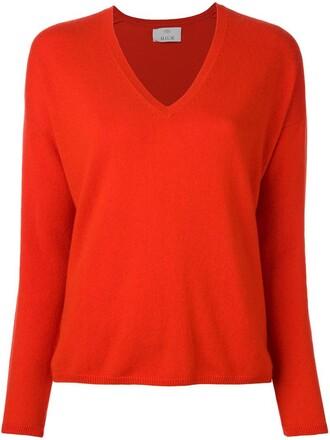jumper fine knit jumper knit women v neck red sweater