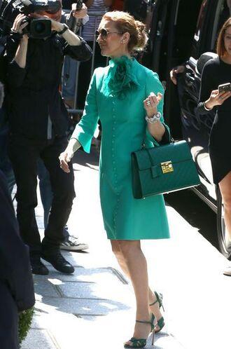dress celebrity style celebrity green dress long sleeve dress bag green bag handbag sandals sandal heels high heel sandals singer