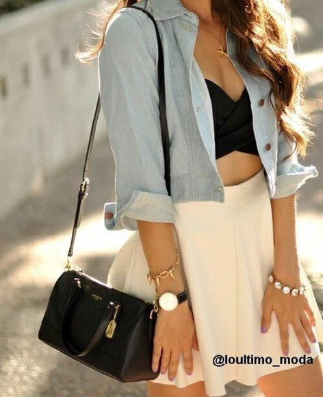 jacket bag skirt top black top jewels