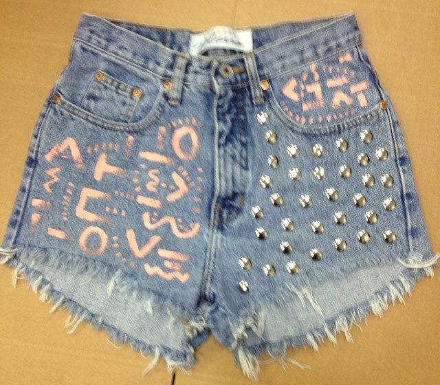 High Waisted Waist Shorts Vintage Denim Ombre Tye Dye Stud Studded ...