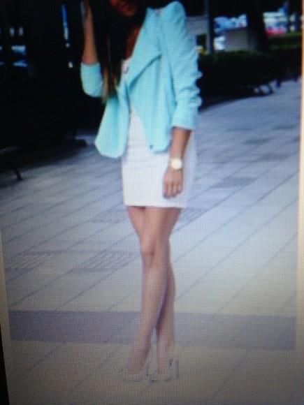 pastel aqua blue fashion classy cardigan blazer dressy style
