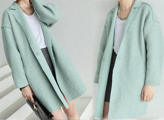 106 Womens Boiled Wool Tulip Cocoon Mint Coat Supersized