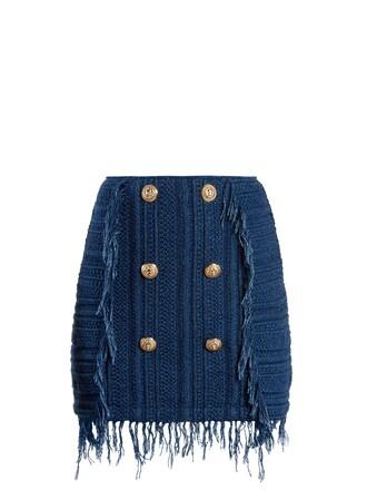 skirt mini skirt mini embellished blue