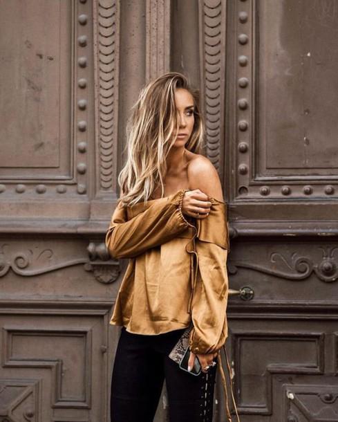 top tumblr gold top off the shoulder off the shoulder top metallic metallic blouse pants lace up pants black pants satin date outfit ombre hair kenza satin shirt
