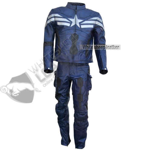 New captain america leather costume full suit winter soldier full leather suit