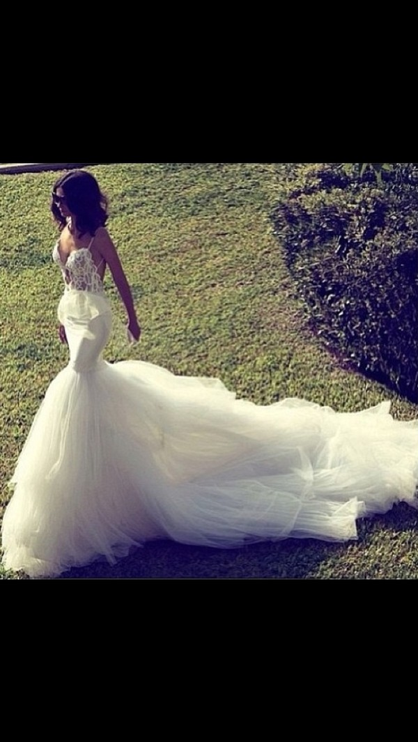 dress wedding dress mermaid wedding dress lace wedding dress tulle wedding dress cream dress