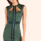 Faux suede zip front mini dress hunter green -shein(sheinside)