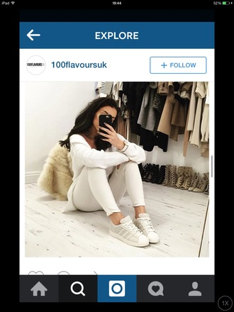 sweater white sweater knitted sweater white sneakers