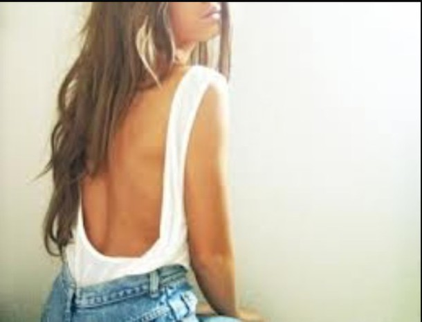shirt white backless top