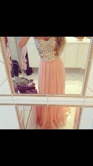 prom dress dress peach dress