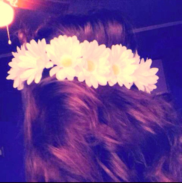 jewels white daisy flowers flower crown hippie hipster festival hair accessory hair accessory hair band