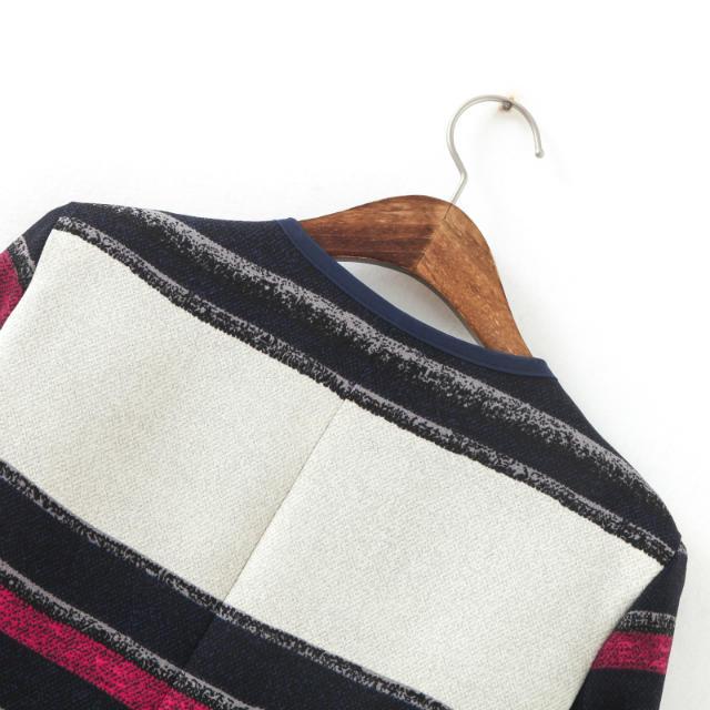 White Black Long Sleeve Striped Crop Jacket - Sheinside.com