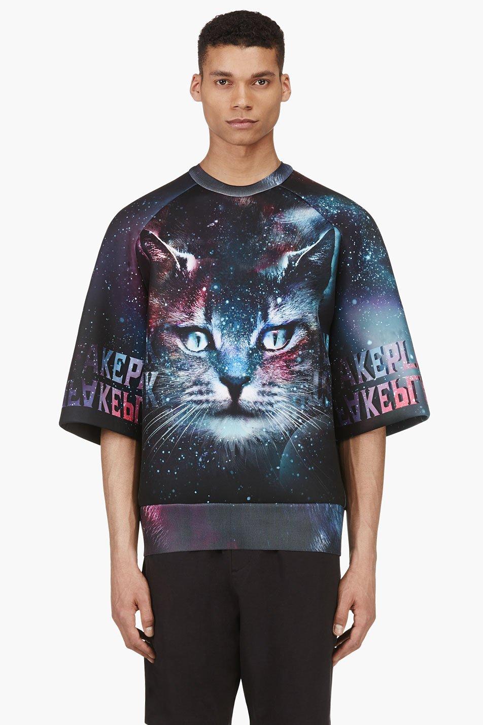 juun.j ssense exclusive purple and teal cosmic cat oversized shirt