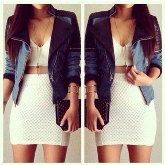 crop tops skirt jacket cross necklace jeans jacket jewlery bag tank top jewels