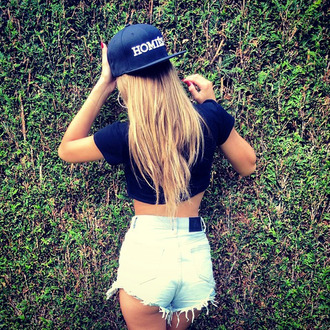 hat homies cap navy tumblr girl outfit t-shirt blue t-shirt shorts summer shorts denim shorts blonde hair swag style