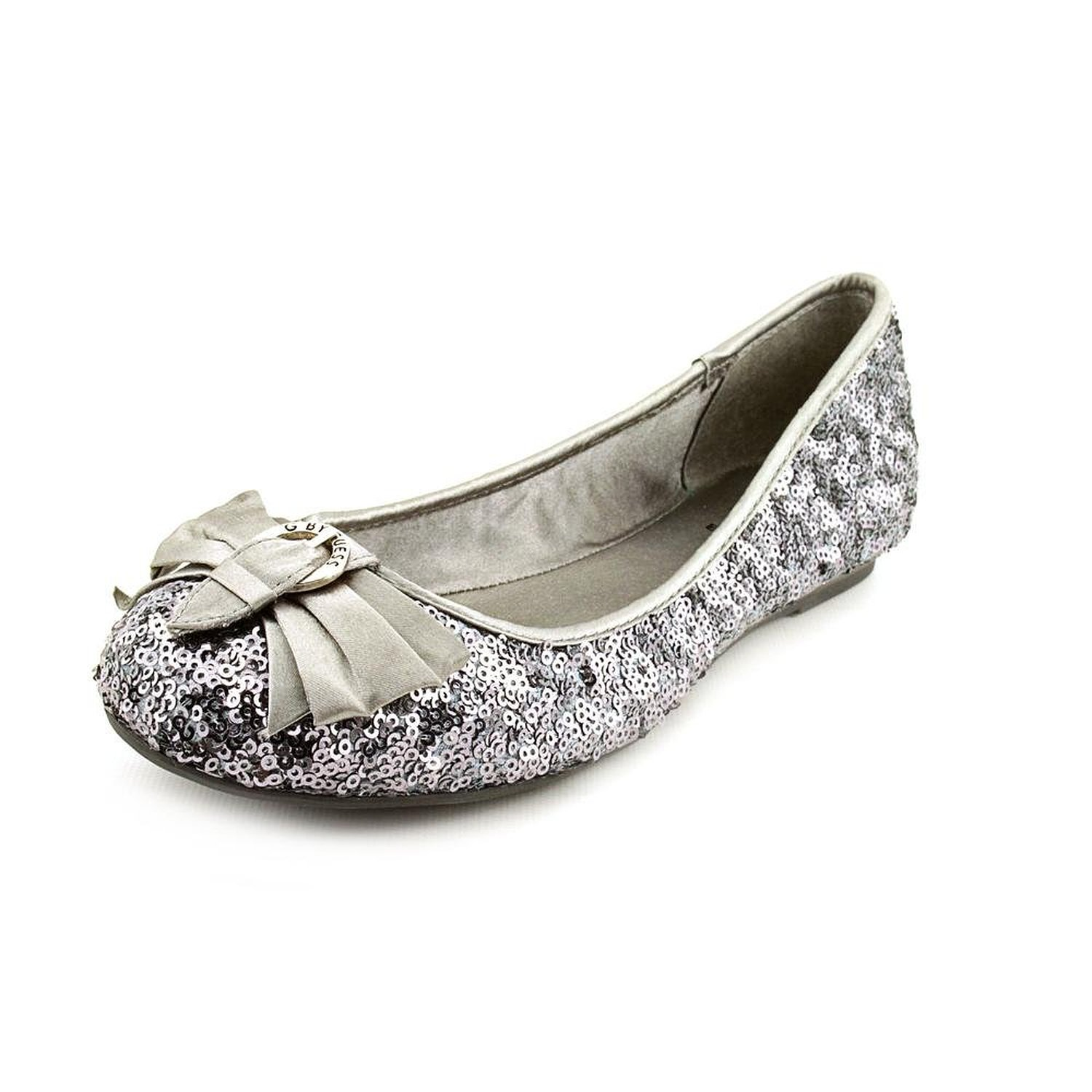 Amazon.com: g by guess women's fruity2 round toe sequin flats in pewter multi size 10: shoes