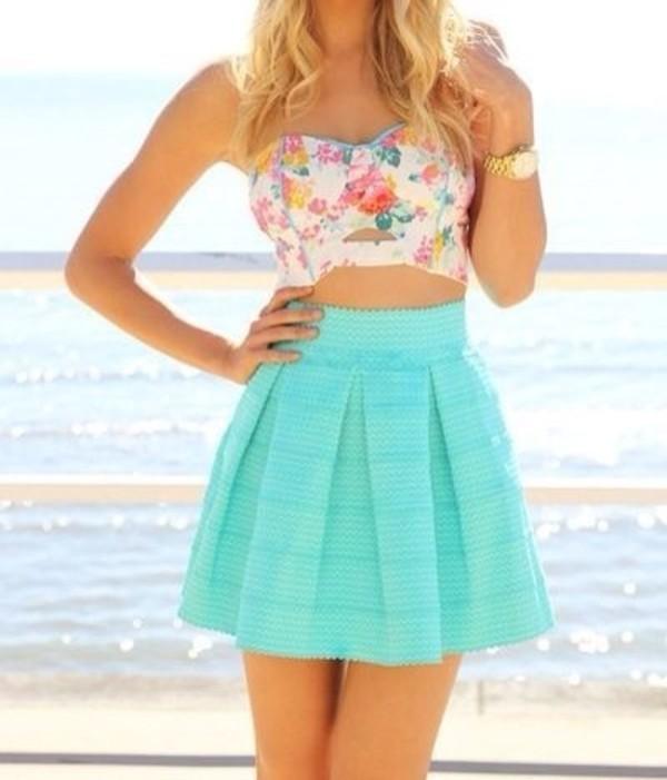 shirt skirt floral teal outfit dress underwear summer colorful blue skirt