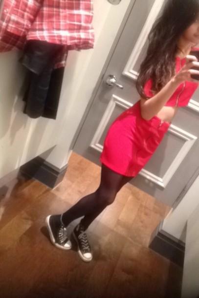 dress red zip dress