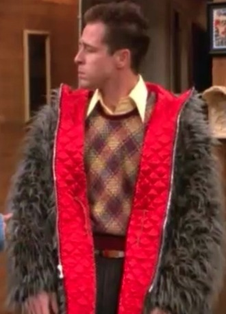 coat jacket reversable colorful furry fluffy fuzzy jacket furry jacket red red lining 3rd rock from the sun