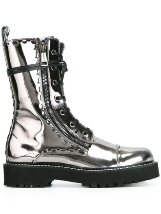 metallic women boots combat boots leather grey shoes