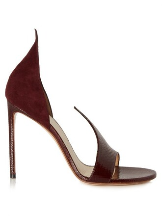 open sandals suede burgundy shoes