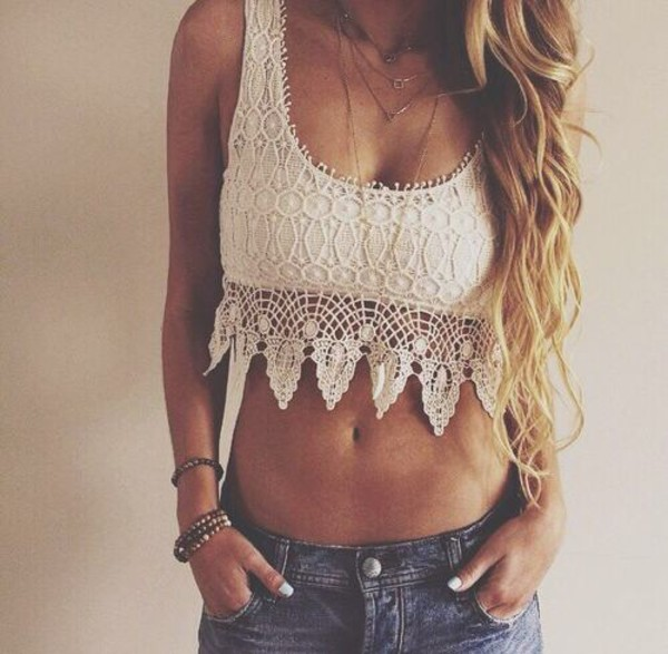 top tank top white lace pretty shirt lace prom dress lace up boho crop top crop tops summer top summer boho festival top crochet top
