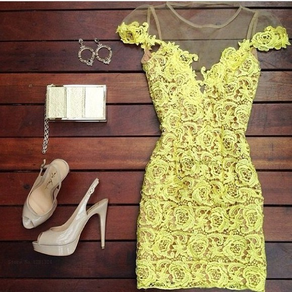 yellow lace dress yellow dress homecoming dress prom dress formal dress white dress red dress floral mesh style slim perspective pierced sexy dress
