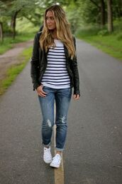 t-shirt,jacket,black leather,leather jacket,blazer,jeans,denim,blue,ripped,barely ripped at knees,boyfriend jeans,caprice,ankles,was on pinterest,pinterest