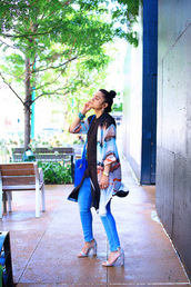 tanvii,blogger,jeans,shoes,jewels,bag,sandals,high heel sandals,blue bag,spring outfits,cardigan,kimono