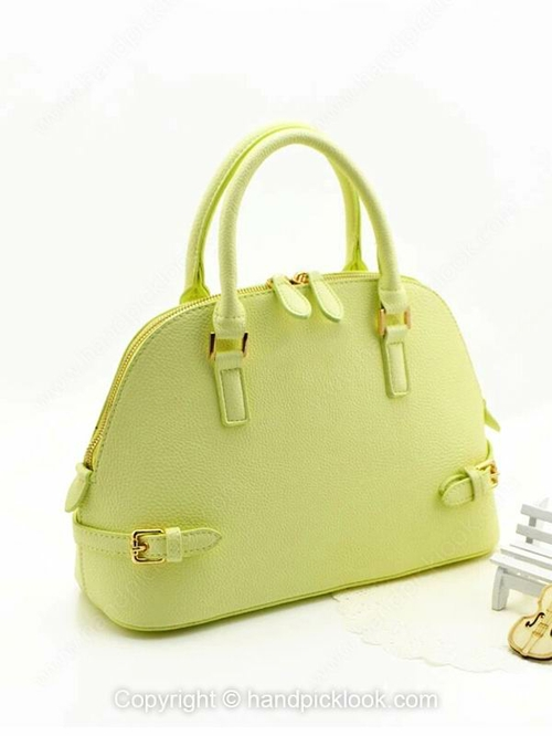 Green PU Zipper Dumpling Type Fashion Handbag - HandpickLook.com