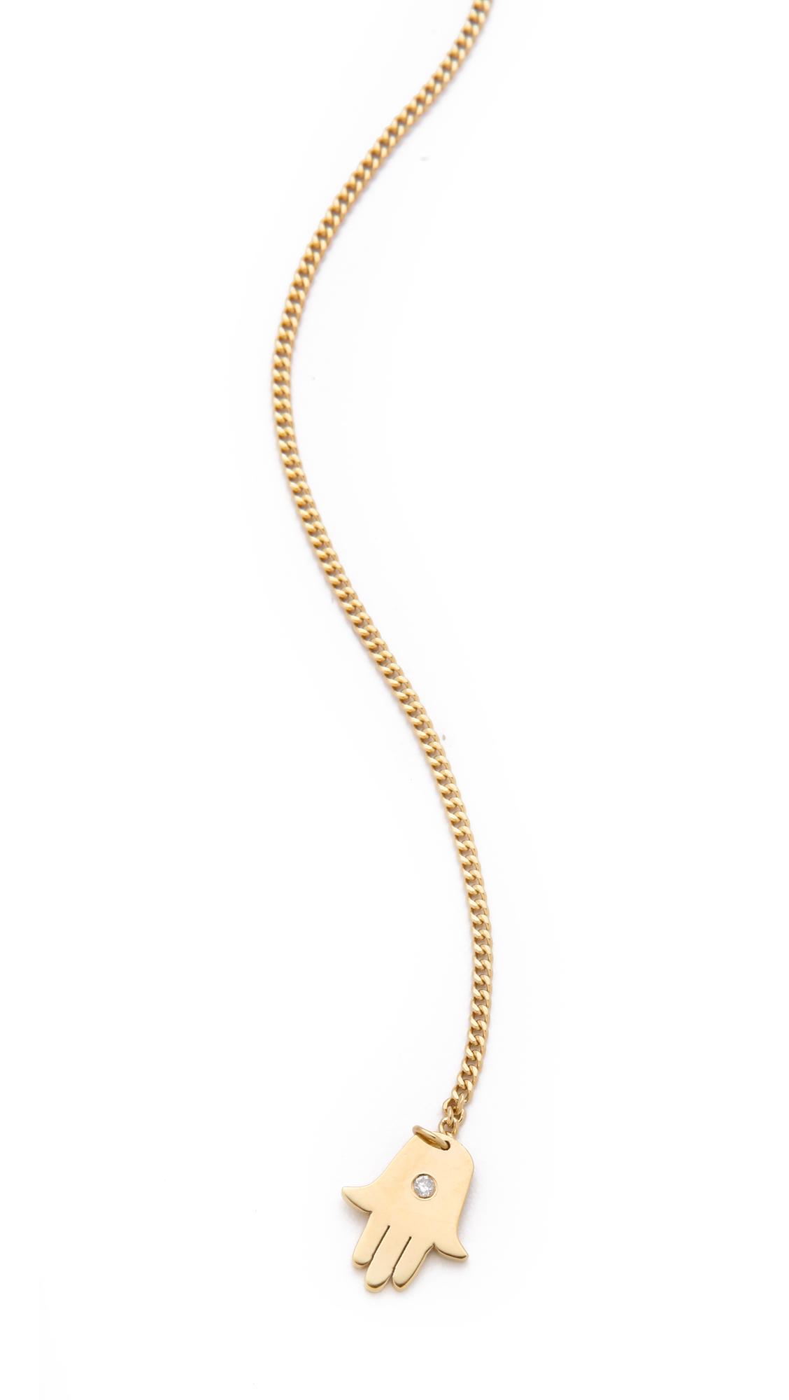 Jennifer zeuner jewelry mini eye & hamsa necklace