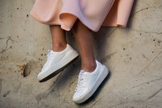 shoes pink skirt neoprene sneakers white sneakers platform sneakers blogger puma puma sneakers